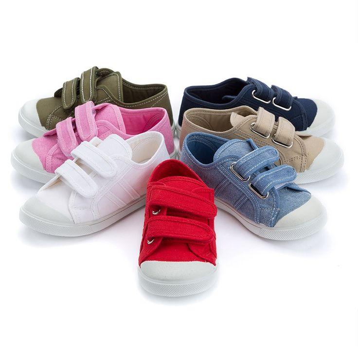 Zapatillas Niños Lona Velcro - Para niños y niñas, ideales para entretiempo, primavera y verano. #tenis #trainers #tennis