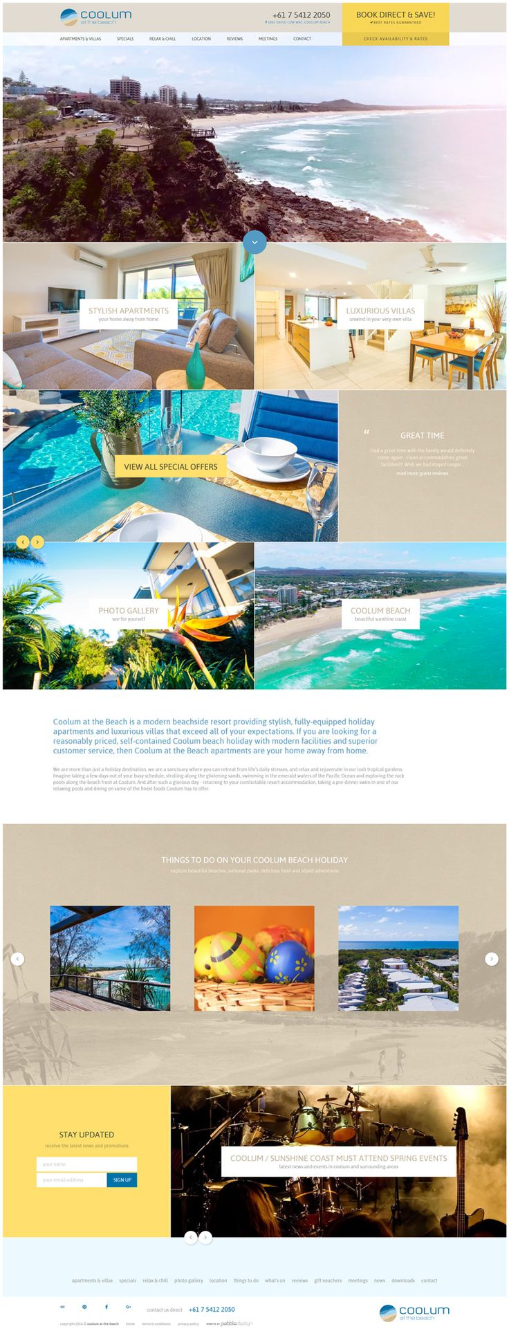 "Have a look at the new homepage we have made for Coolum at the Beach featuring our photography and video!  See more - http://pebbledesign.com/our-work Site - http://www.coolumatthebeach.com.au/  ""Coolum at the Beach is a modern beachside resort providing stylish, fully-equipped holiday apartments and luxurious villas that exceed all of your expectations."""