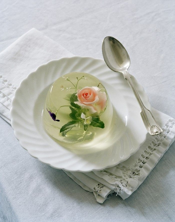 Rosehip & Borrage Flower in Jelly, Gleham Hall, Suffolk, UK, 2010 Photography by Tim Walker