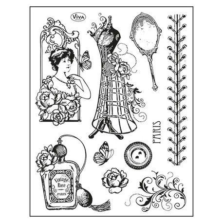 Tampon dessin vintage shabby femme mode th me vintage - Dessin couture ...