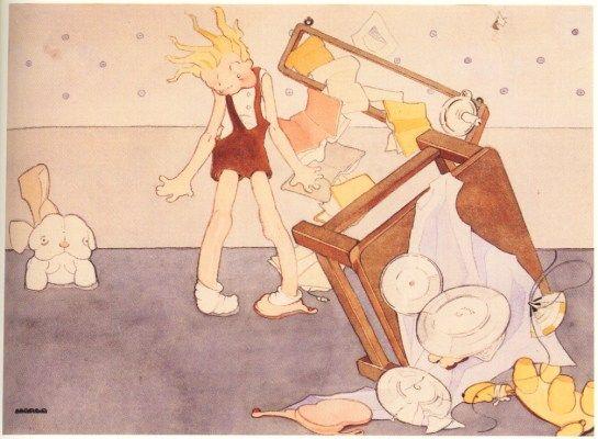 Marga Gil Roësset  EL PERRO DE TERCIOPELO, 1932 - Acuarela sobre papel - 33,5x46 cm Ilustración para el libro Canciones de niños (i) (inédita)