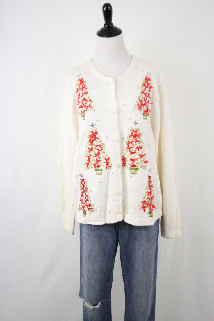 Vintage Ugly Tacky Christmas Trees with Bows and Beads Christmas Cardigan Sweater XL by YaYaRetro on Etsy