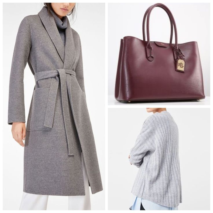 Grey overcoat with belt - Massimo Dutti  Lauren Ralph Lauren CITY - Tote Cashemere oversize sweater - Mango