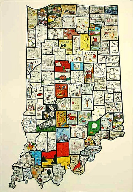 Quilted Map Of Indiana From Elisa H Us By Alvhyttan On Flickr