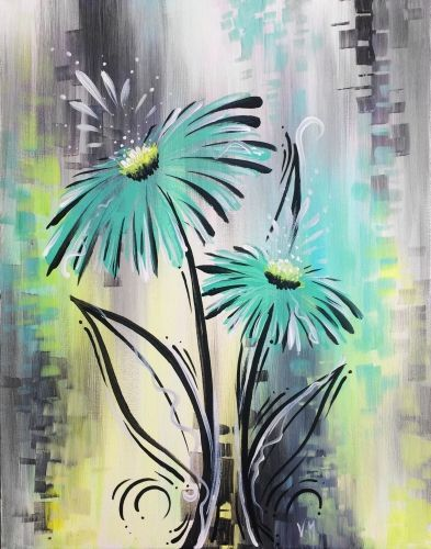 Whimsical Blue Gerbera at Saffron's - Paint Nite Events near Winnipeg, manitoba>