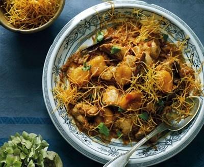 Reza Mahammad's chicken with apricots and potato straws