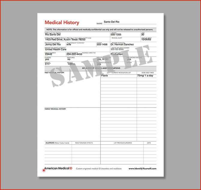 American Medical Id. Free Medical Forms. Medical History Form