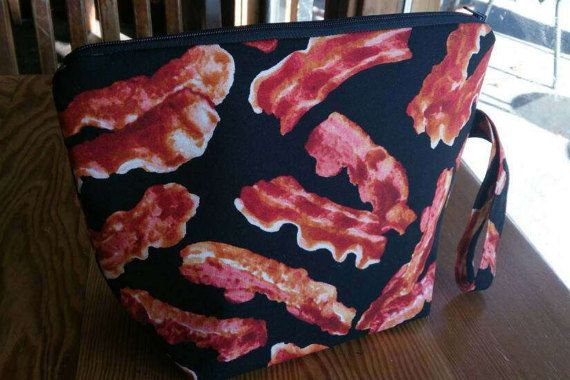 Knitting Project Bag  Bacon by thingsbylengleng on Etsy
