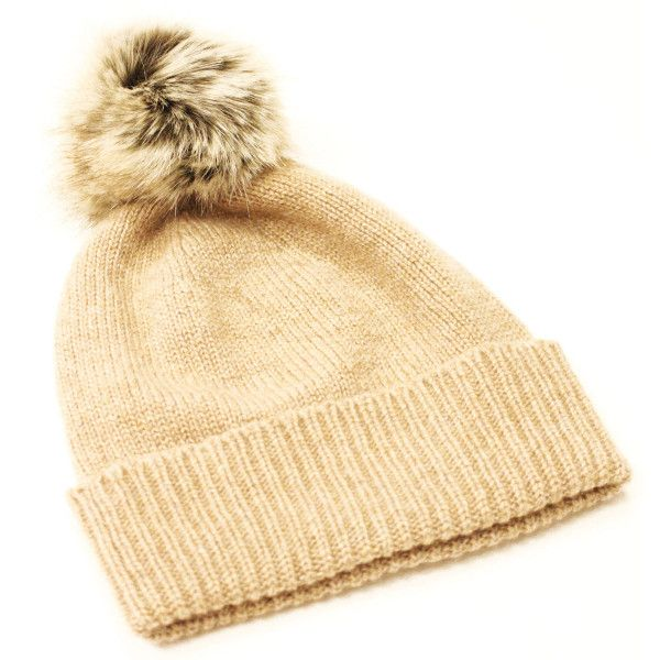 Bobble Hat in Camel with Truffle Pom Pom ($98) ❤ liked on Polyvore featuring accessories, hats, pom pom beanie hat, beanie cap hat, pom pom beanie, bobble hat and pom beanie