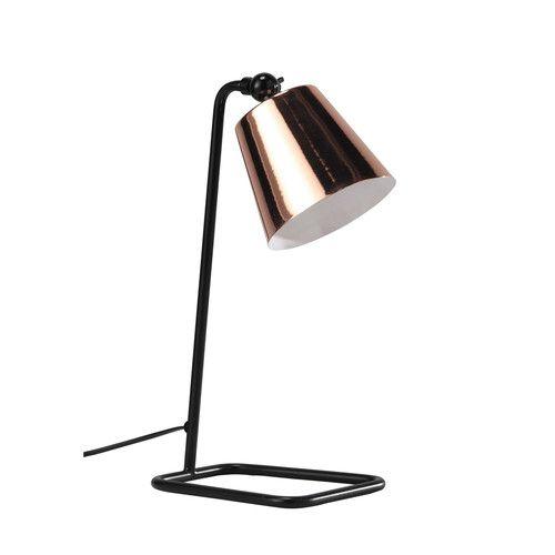 Schreibtischlampe schwarz verstellbar aus verkupfertem Metall H 40 cm WALTER
