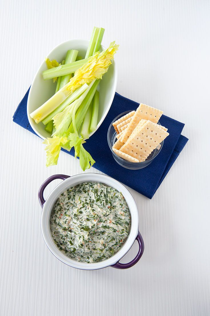 Hot Spinach Dip: A great way for kids to get their greens! Our spinach, onion, bell pepper, and herb seasoning blend makes an irresistible cheesy dip.