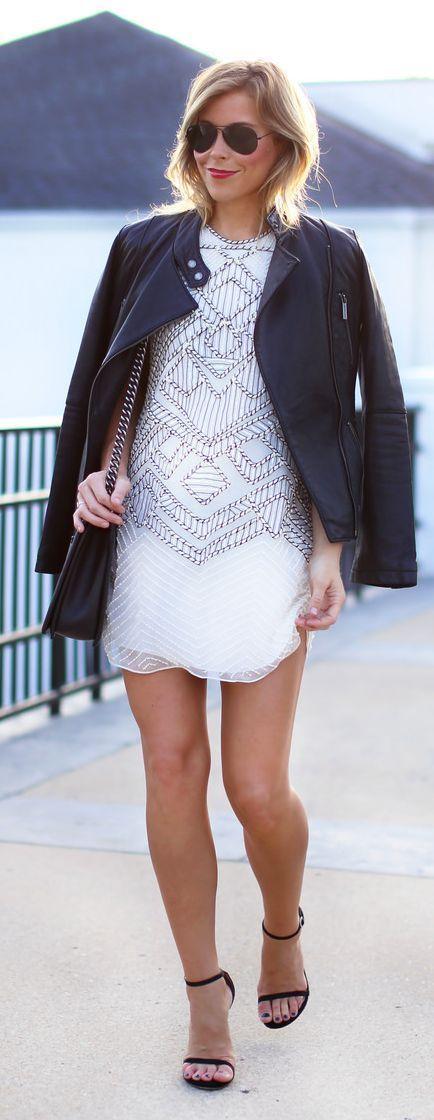 Parker Ny White Embellished Structured Mini Dress