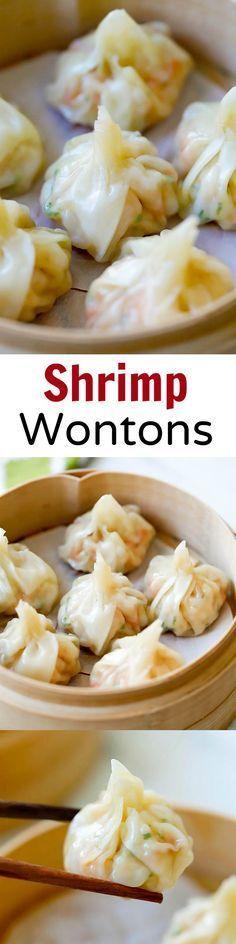 Shrimp wontons – easy peasy shrimp wontons recipe with shrimp, wrapped with wonton skin and boil/steam. SO easy & delicious!!! | http://rasamalaysia.com