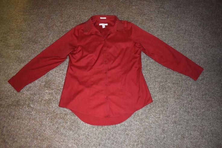 Chico's Womens Red Long Sleeve No Iron Button Up Shirt W/ Sequence Sz 1 Medium M #Chicos #ButtonDownShirt #Career