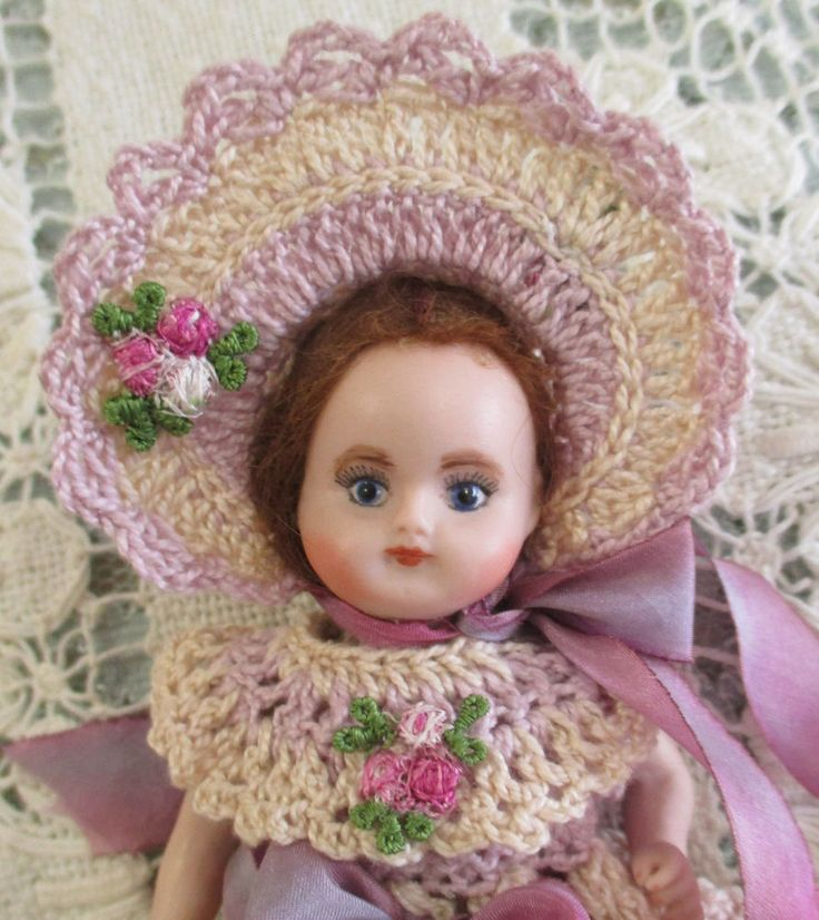 VICTORIAN STYLE CROCHET DRESS SET for ALL 5-6  ALL BISQUE DOLL JUMEAU MIGNONETTE