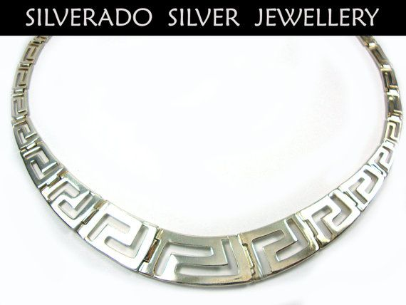 Sterling Silver 925 , Greek Necklace , Ancient Greek Eternity Key Meander Design Gradual Necklace 48 cm 18.32 inches, Griechische Halskette on Etsy, 125,00 €