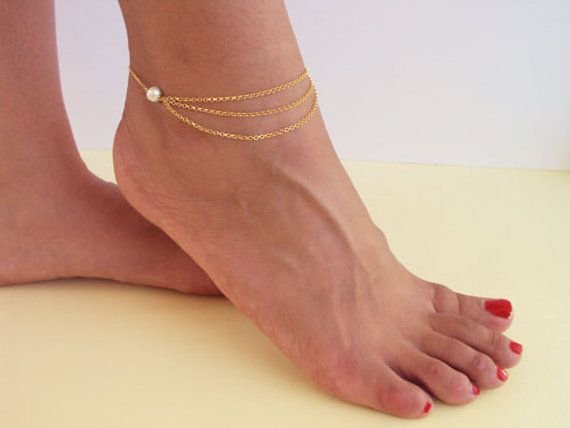 Pearl Anklet Gold Layered Anklet 14K Gold by VasiaAccessories