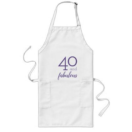 40 and Fabulous Violet and White Apron - home gifts ideas decor special unique custom individual customized individualized
