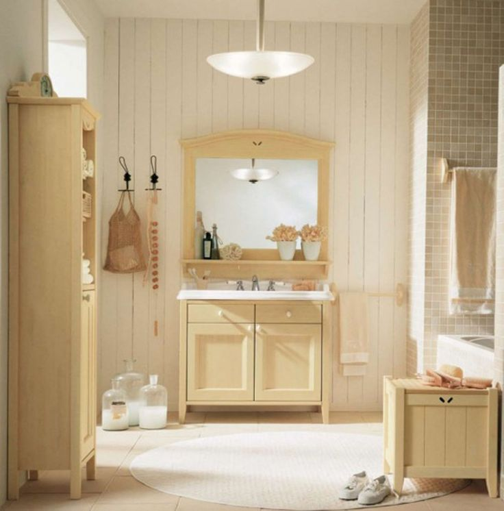 Bathroom Oak Bathroom Furniture Set Round White Rug White Beadboard Wall Wooden Towel Bar Round Glass