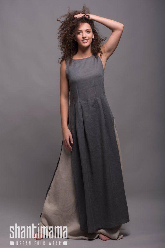 Outfit 3 pieces Linen Long Tunic Dress NERO Long Linen  0406b2498