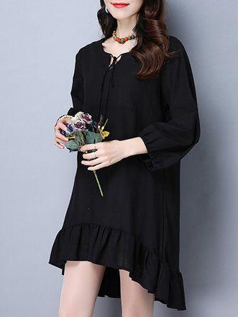 Vintage Long Sleeve Pure Color Women Mini Dresses at Banggood