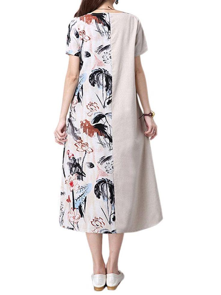 Mulheres elegantes roupas de patchwork estampado floral vestido midi - Banggood Móvel