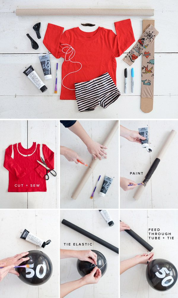 Easy and clever fake tattoo solution to complete the DIY pirate costume: nylons + sharpies