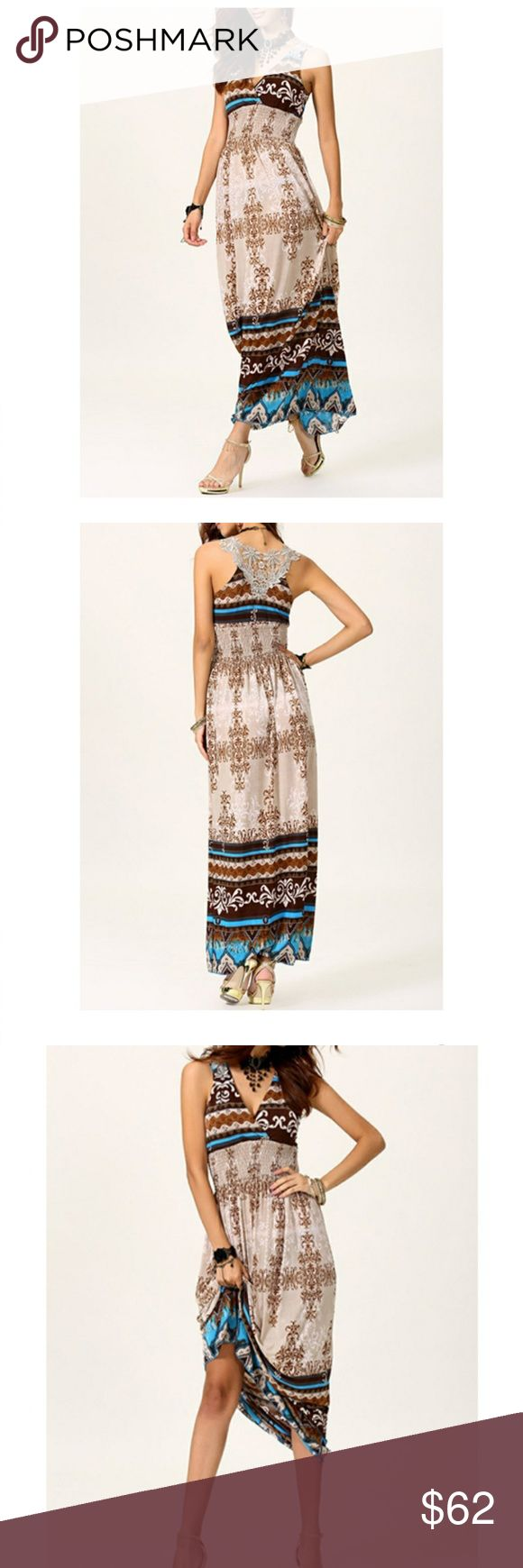 """Southwestern/Boho/Tribal Maxi Dress Beautiful sleeveless maxi dress in earth tones of blue and brown. Empire waist. Beautifully detailed with crochet inserts. One size fits all. Measurements taken lying flat: 52"""" from shoulder to hem. 19"""" from armpit to armpit. NWT. Still in package. Smoke free/pet free home. No trades. I only deal through Poshmark. MAGNOLIA BOUTIQUE Dresses Maxi"""