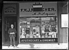 F.W.J. Fletcher's Apothecary and Chemist Shop at 695 Hunter Street West,Newcastle, in New South Wales in 1908.