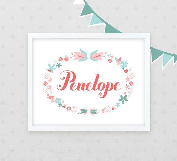 Nursery Name Art 8x10 /// Floral Wreath Baby Name /// Girl's Bedroom Name Art /// Newborn Gift