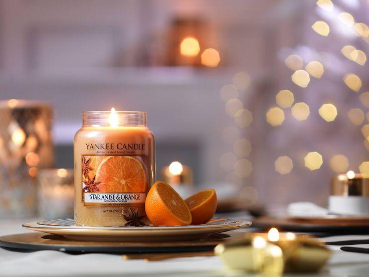 Star Anise & Orange  En doft av anis och uppfriskande, saftig apelsinklyfta.  Doften tillhör serien Holiday Party och finns i Classic sortimentet me La Jar, M Jar, S Jar, votiveljus, tealights och wax för aromalampor. #YankeeCandle #Jul2016 # StarAniseoOrange