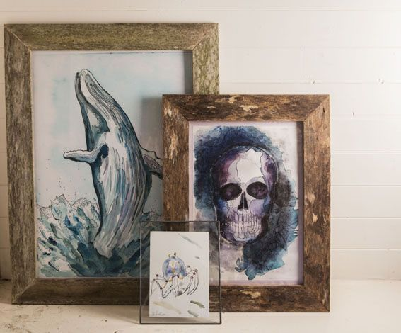 A pirates dream. Inspiration. Whales, skulls and a land crab. Giclee artprint on cotton rag paper. Handmade upcycled timber frames.