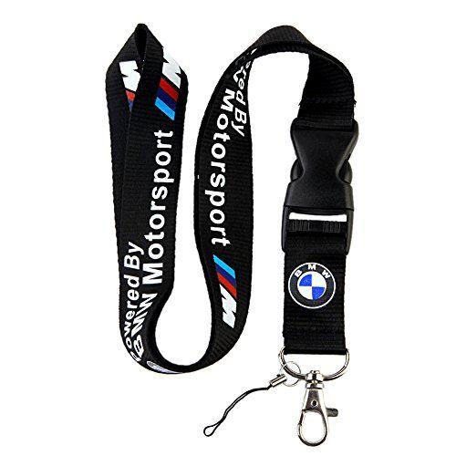 BMW Motosport Logo Keychain Key Chain Black Lanyard Clip ...