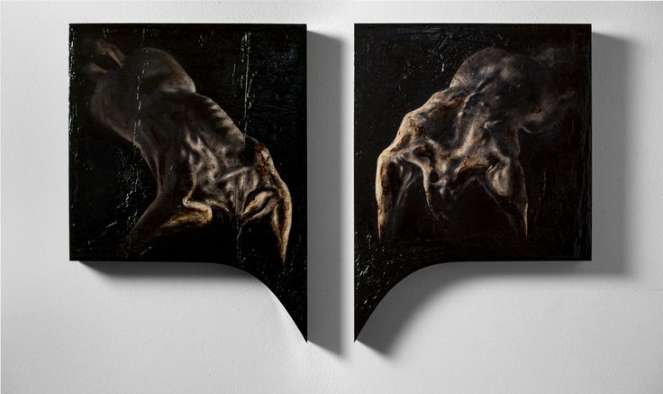 Lir Tasho Abductio, (Assunzione per caduta), diptych, 2014 oil painting on wood, 50 x 50-67 (h.max) cm each panel