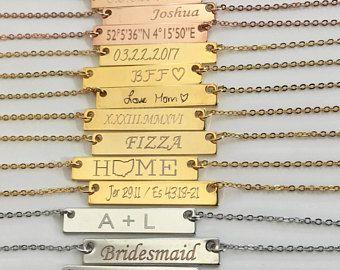Custom Bar Choker personalized Choker gold name Choker Silver Choker necklace sister birthday gift custom jewelry Christmas gift for her