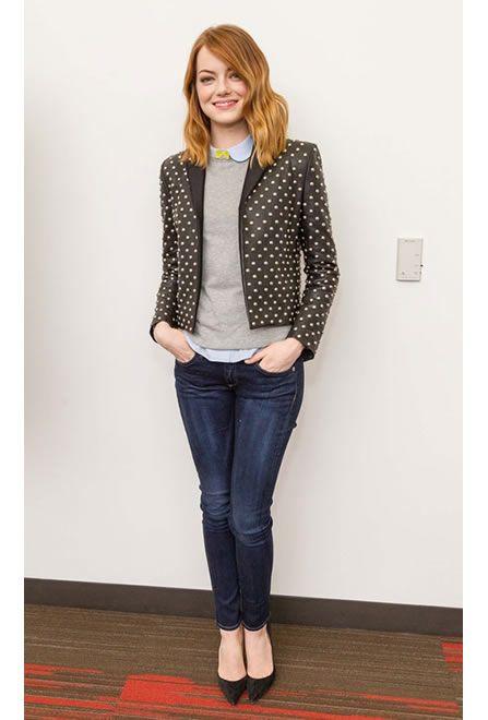 Emma Stone #jeans #pointyheels #YSL #chic