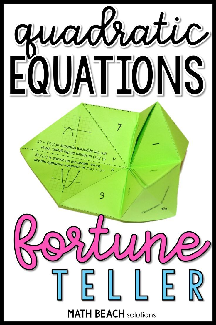 Solving Quadratic Equations Fortune Teller Activity