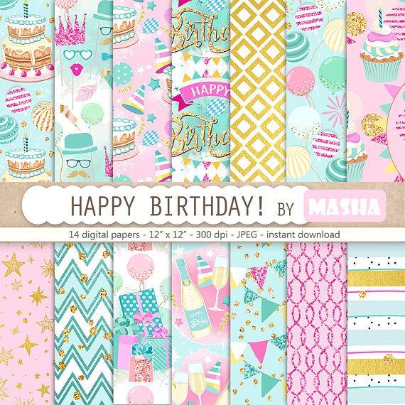 Birthday digital paper: HAPPY BIRTHDAY with party #birthday #digital #paper #party #pattern #printable #downloads #etsy #creative #cake #cupcake #balloons #happy #gold #polkdots #chevron #stars #celebration #planner #supplies #scrapbooking #craft #scrapbook #mashastudio #masha #studio