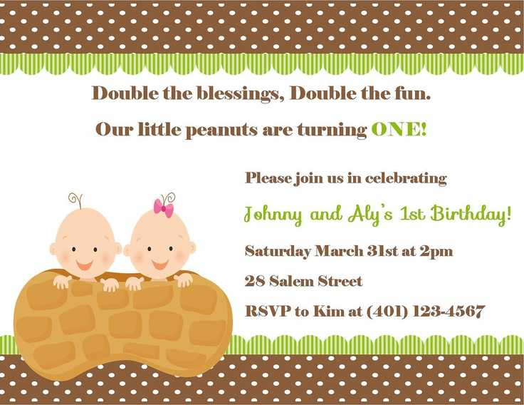 Twin's First Birthday Invitation - (Digital File). $12.00, via Etsy.