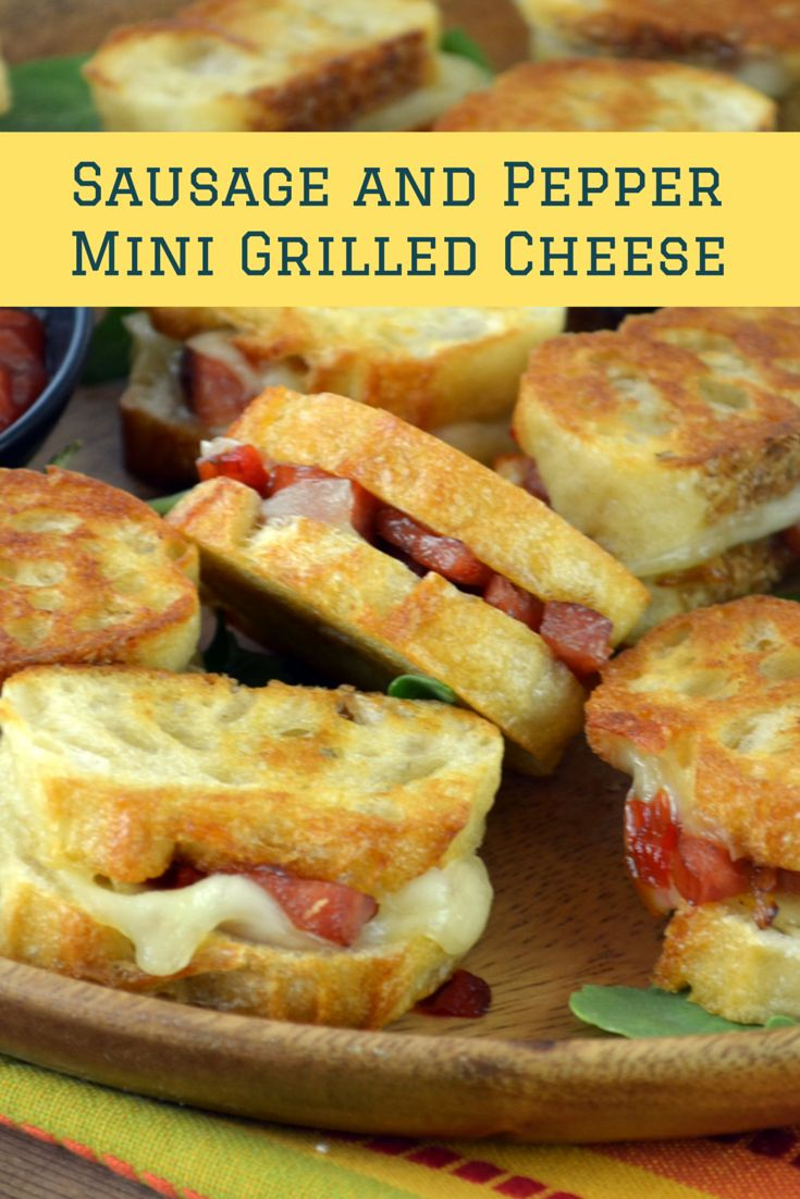 Mini grilled cheese sandwiches have become one of my favourite appetizers. These are great with sausage and peppers, and of course the spicy ketchup!