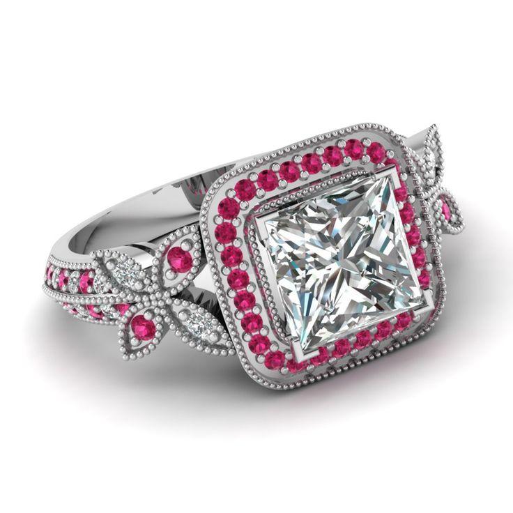 Förlovningsringar Med Rosa Diamanter: Mycket Elegant Blom  Röda Diamanter Ringar Som