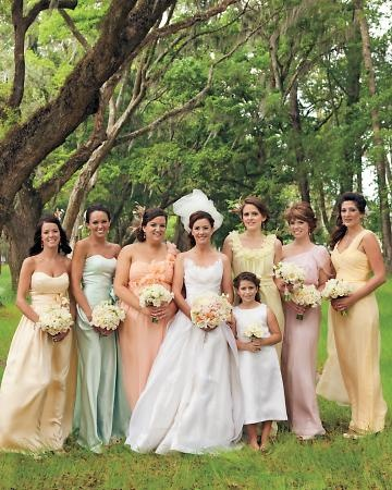 Bridesmaids in sherbet-colored gowns