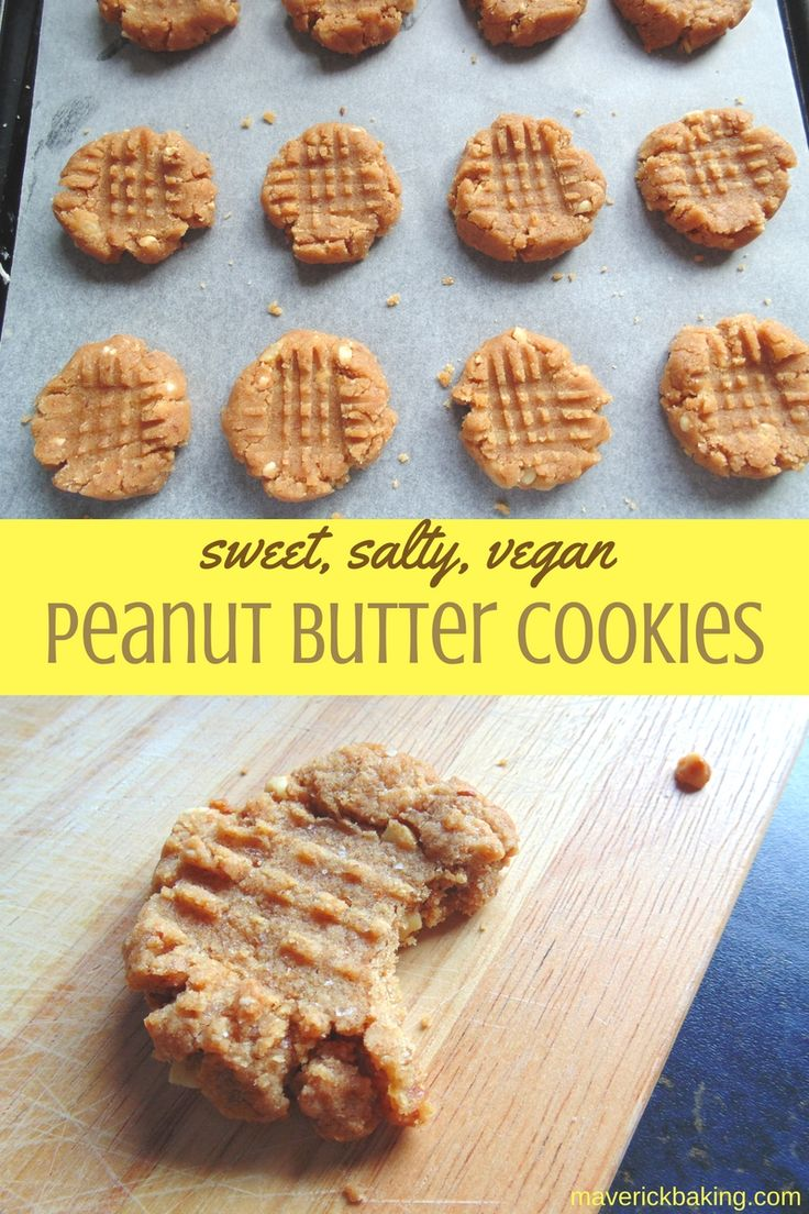 Sweet & Salty Peanut Butter Cookies! These easy soft little vegan cookies are so quick to make, and they couldn't be more peanut buttery if they tried!