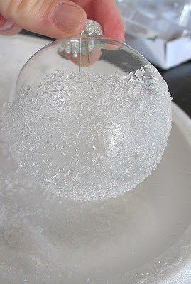snowflake ornament... dip in glue and then in epson salts