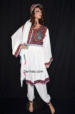 """Nelofer Kuchi Dress Beautifully embroidered traditional Afghan Kuchi tribal dress. The material is soft, breathable, and light weight - perfect for the summer! Comes with matching pants, head scarf, and adjustable belt at the waist. The measurement of the bust is 18"""" from seam to seam, and the length is 36"""" long from the back. Color: White.  Size: Small to Large (Depending on bust size)"""