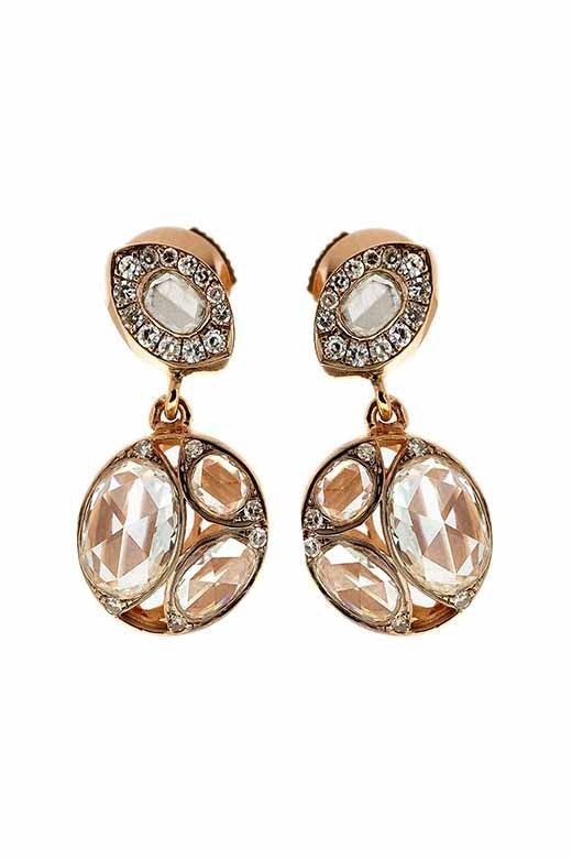 Jewelry designed by Selim Mouzannar: Diamonds earrings with pink gold.