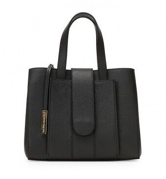 """Paloma Barceló's """"Torino"""" bag crafted in total black deerskin and equipped with a removable adjustable shoulder strap, with a handy exterior pocket. Gold-tone metal hardware. On sale at 425 Euros at the Paloma Barceló website."""
