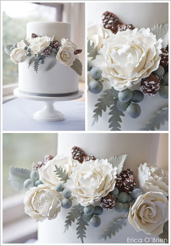 winter wedding cake with flowers | isn t it just beautiful i love exploring the inspiration