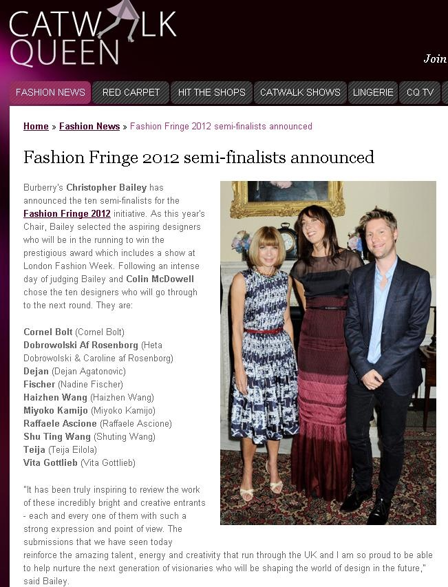 Fashion Fringe Semi Finalists announcement - Catwalk Queen