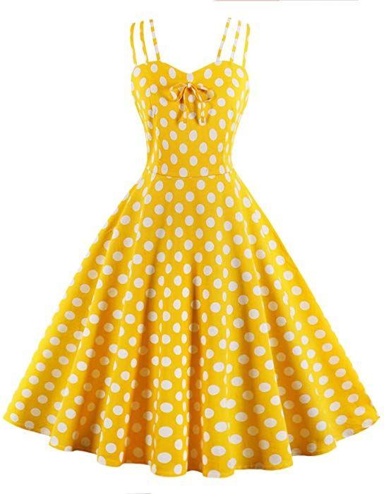 06418990fb4d Sensfun Women's Vintage Classy Audrey Hepburn Retro Polka Dot Sleeveless  Floral Swing Party Tea Dress at Amazon Women's Clothing store: